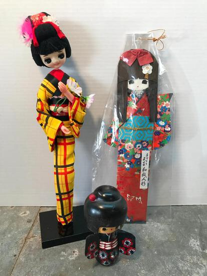 Three Japanese Ladies Figures Made with Different Mediums
