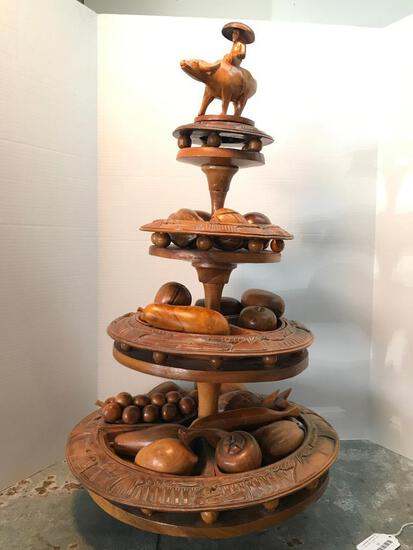 Large, Wood, 4 Tiered Fruit Bowl as Pictured