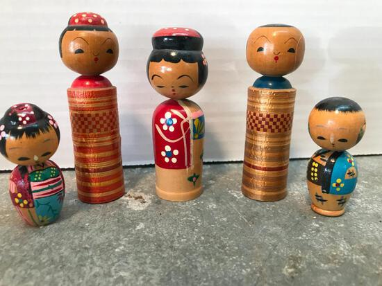 Five, Small, Hand Painted Japanese Figures
