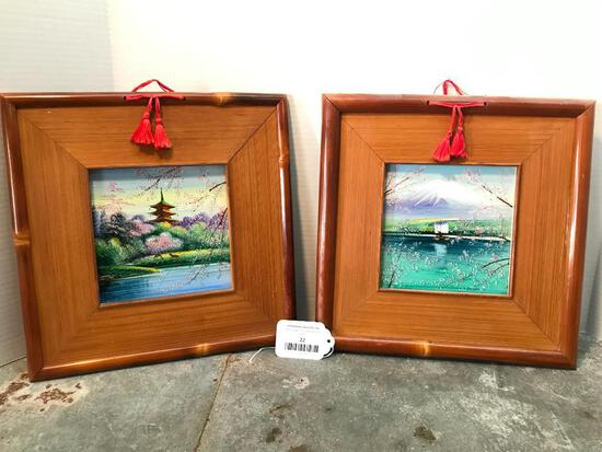 Nice Set of Bamboo Framed And Painted Japanese Ceramic Tiles