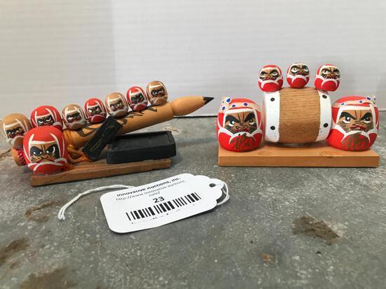 Interesting Set of Japanese Wood Carved Figures