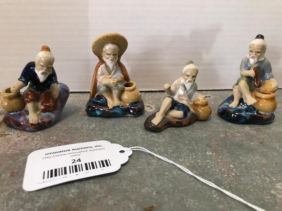 Four, Small Pottery, Oriental Style Figures