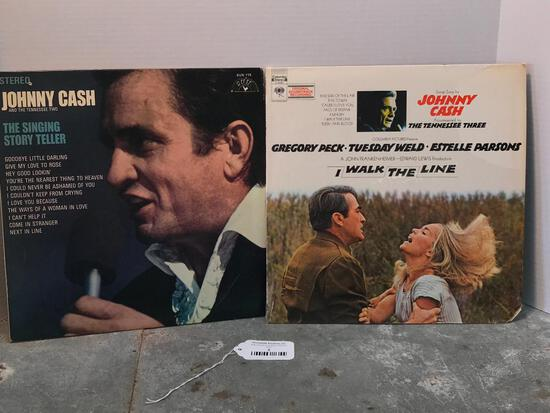 Two Johnny Cash 33 RPM Records as Pictured