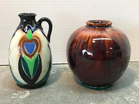 Pottery Vase and Small Japanese Pitcher