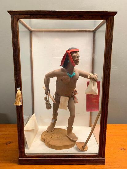 Native American Carved Wood Figure by Wilfred Tewawina