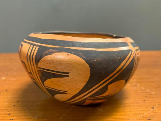 """Native American Pottery Vase/Bowl, 3"""" Tall, Some Chipping on Top Edge of Rim"""