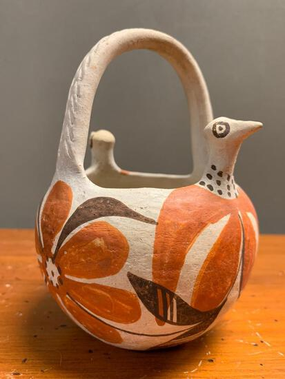"""Polychrome Pottery Basket with Bird Accents, 6"""" Tall"""