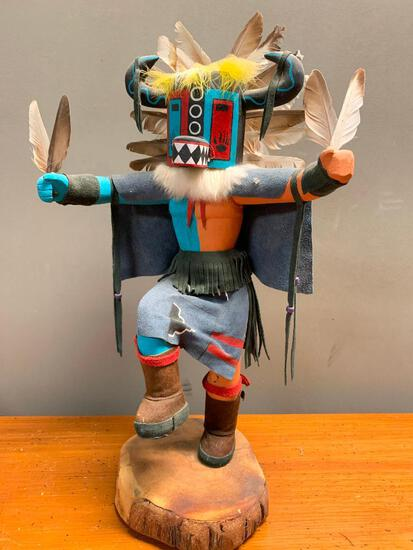 """This is what appears to be a Road Runner Kachina Doll, Hand Crafted from Wood and Stands 23"""" Tall"""