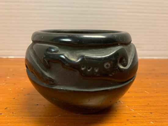 """Black on Black, Native American Pottery Bowl/Vessel, 3"""" Tall and 3"""" Opening Diameter, No Makers Mark"""