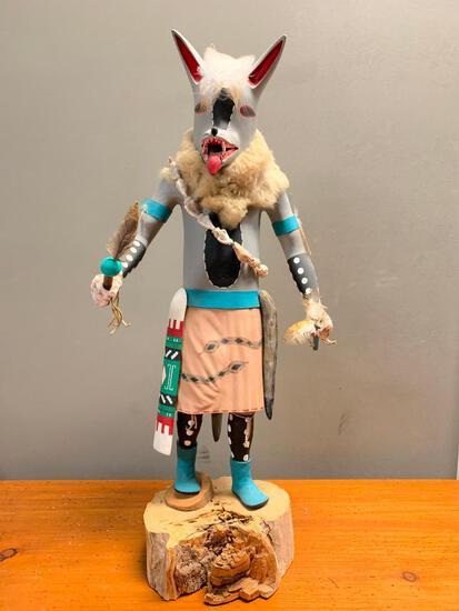 """Grey Wolf Kachina by Bob White Eagle, 26"""" Tall"""