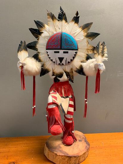 "Sunface Navajo Kachina by LIza Degay, 25"" Tall"