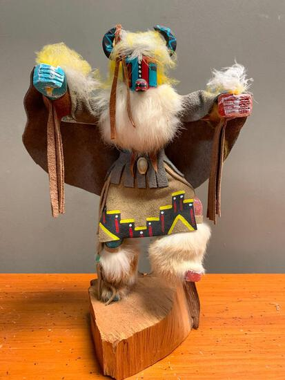 """This is what appears to be a Road Runner Kachina Doll, Hand Crafted from Wood and Stands 14"""" Tall,"""