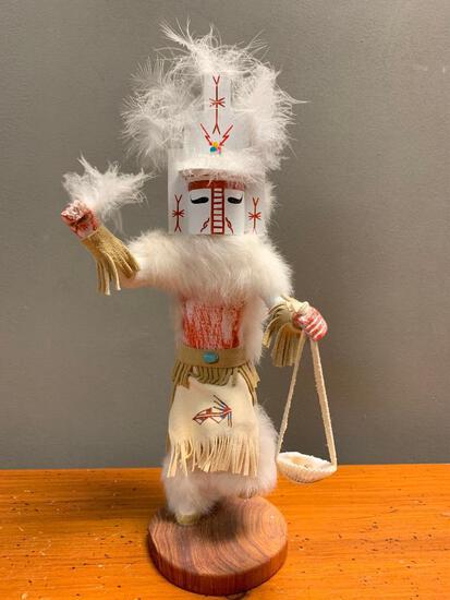 """White Cloud Kachina by Wanda Yazzie, Signed and 15"""" Tall"""