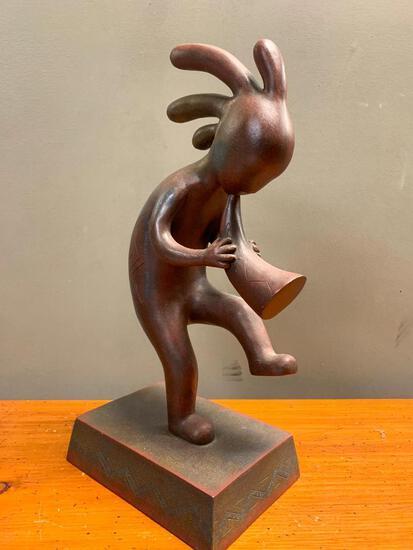 "Contemporary, Native American, Resin Figurine, 17"" Tall"