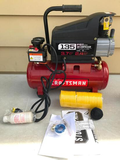 Craftsman 1 HP 3 Gal 135 PSI Air Compressor. This Item is Unused and Comes with All Pieces Shown