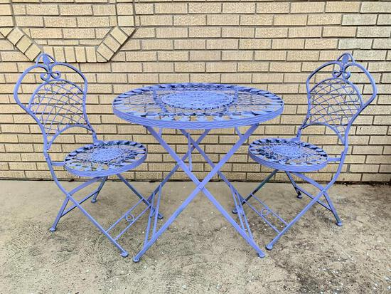 Outdoor Folding Wrought Iron Table and Chairs, 31 1/2 inch Diameter Top
