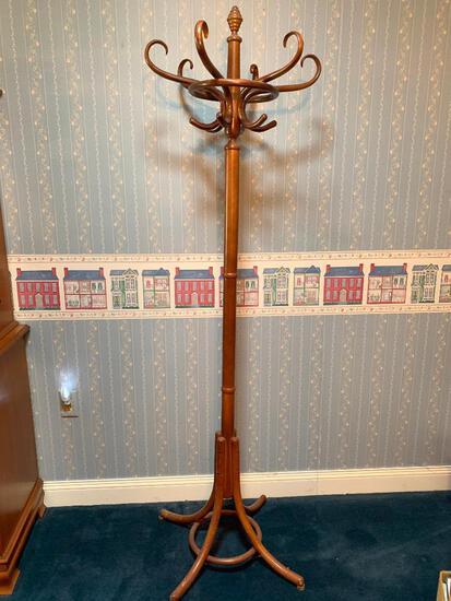 "Bentwood Hall Tree, 75"" Tall, Great Shape!"