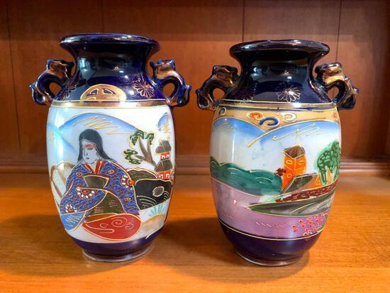"""Pair of Japanese, Porcelain Vases, 7"""" Tall Each"""
