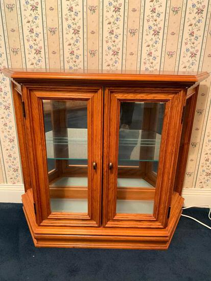 Small Oak and Glass Hall/Curio Cabinet, 29 inches Tall, 36 inches Wide