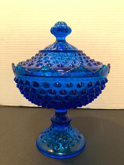 "Blue Glass Hob Nail Raised Candy Dish, 9"" Tall"