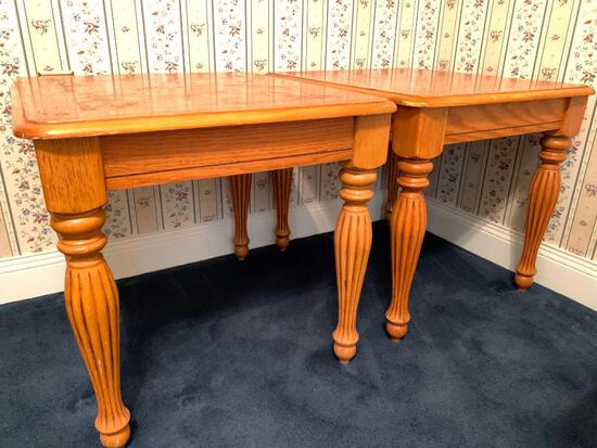 """Two Oak End Tables, Tops are 22"""" by 25"""", Edge Wear and Scratches"""