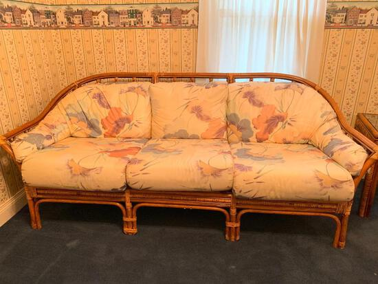 Rattan Sofa with Floral Accented Cushions, Clean but Left Arm Little Wear