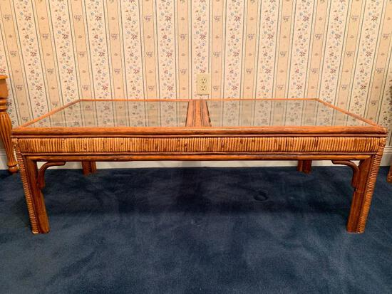 """Rattan With Glass Top Coffee Table, 16"""" Tall 15 """" Wide 24"""" Deep"""