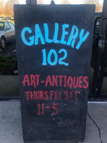 "Wood Sandwich Board Sign in Front of Andrea Parrott Gallery 51"" Tall x 24"" Wide"