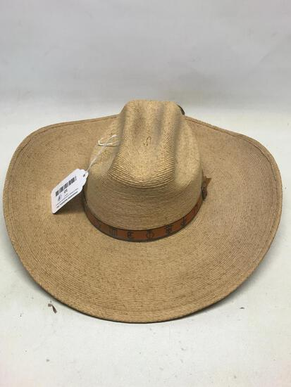 One Straw Sombrero with Detailed Leather Band Made in Mexico- As Pictured