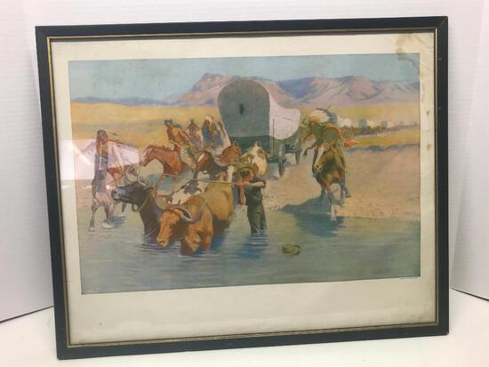 "21"" x 17"" Native American Framed Print by Frederic Remington - As Pictured"