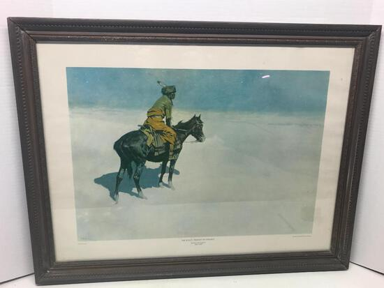 "26.5"" x 20.5"" Native American Framed Print by Frederic Remington. - As Pictured"