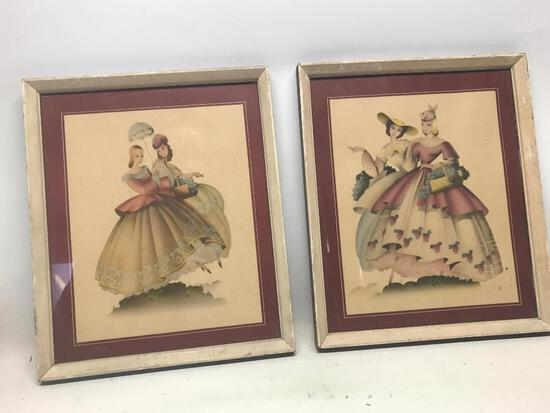 "2 piece Lot of 13"" x 11"" Framed Victorian Style Prints. Probably originated in the 1950's. As"