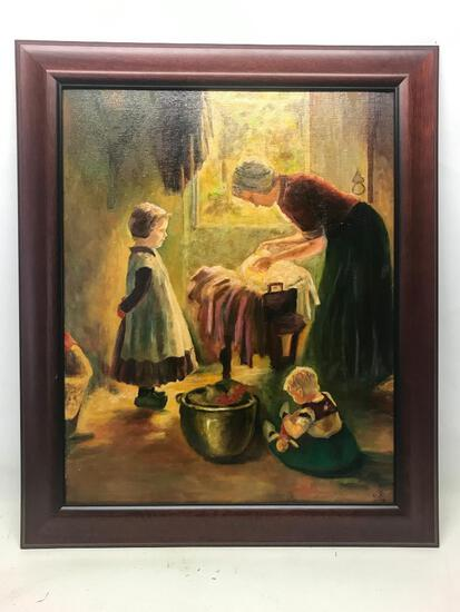 """19.5"""" x 24"""" Oil on Board Framed Print Restored by Andee Minter Parrott - As Pictured"""