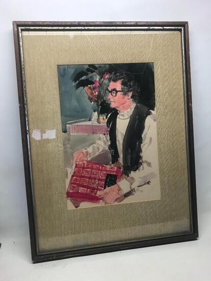 """22"""" x 29.5"""" Framed Watercolor and Charcoal Print by Dayton Based Artist Paul Melia - As Pictured"""