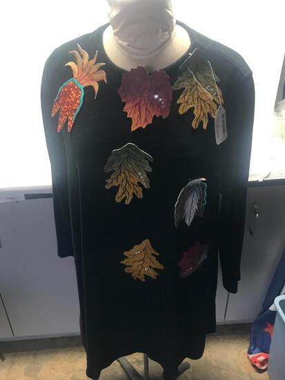 Blouse with Dress Form Included with Leather Hand Painted Broches by Andrea Parrott - As Pictured