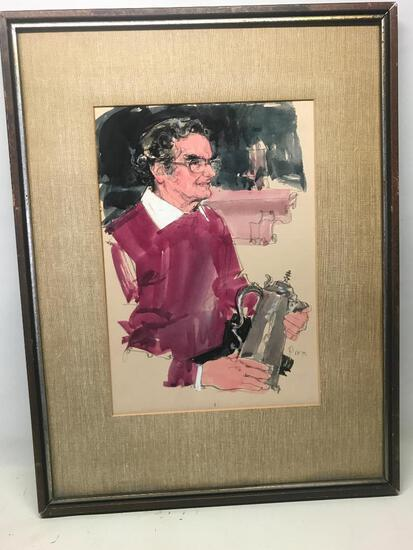 "22"" x 29.5"" Framed Watercolor and Charcoal Print by Dayton Based Artist Paul Melia - As Pictured"