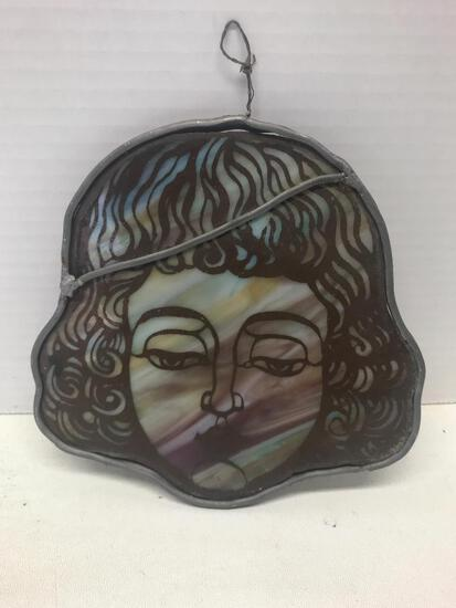 """Sun Catcher Made with Stained Glass Design. This Item is 6.5"""" - As Pictured"""
