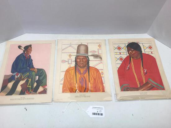 "3 Piece Lot of Native American Prints. These Items are 9"" x 12"" in Size - As Pictured"