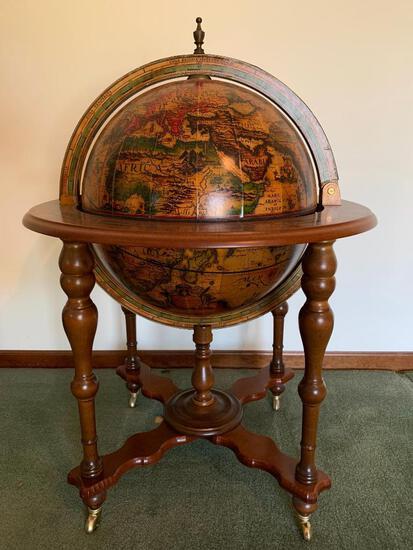"Cool, Old World Globe With Bar 40"" x 29"""