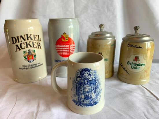 """Lot of 5 Steins Tallest is 8"""""""