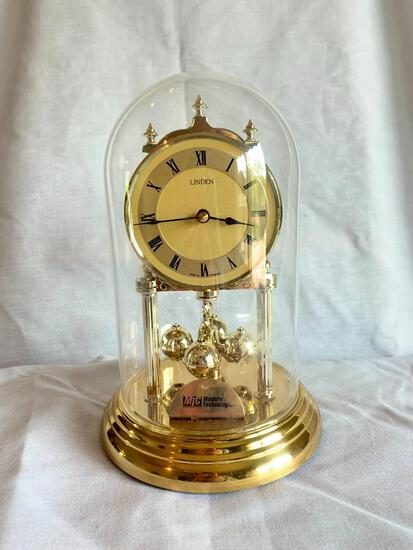 """Linden Glass Dome Anniversary Clock 9"""" Tall"""