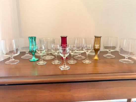 """Lot Of Misc. Glasses and Stem Ware Tallest is 4.5"""""""