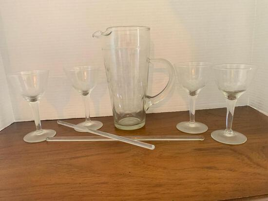 Vintage Etched Glass Pitcher and Stemmed Glass Set