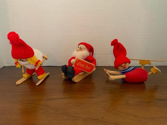 """Set of 3 Wooden Sledding & Skiing Decorations Made in Sweden Tallest is 5"""""""