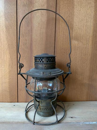 """Adams & Westlake Co. Antique Oil Lamp. This Stands with Handle Approx. 16"""" Tall"""