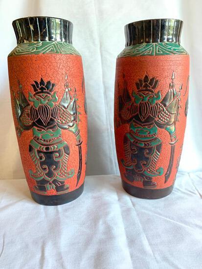 """Unique Pair of Vases 12.5"""" Tall"""