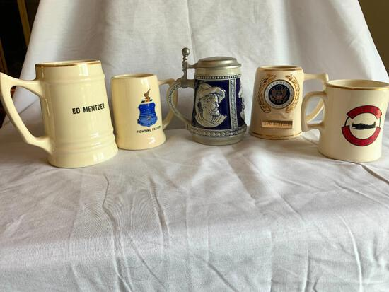 """Lot of 5 Steins Tallest is 6"""""""