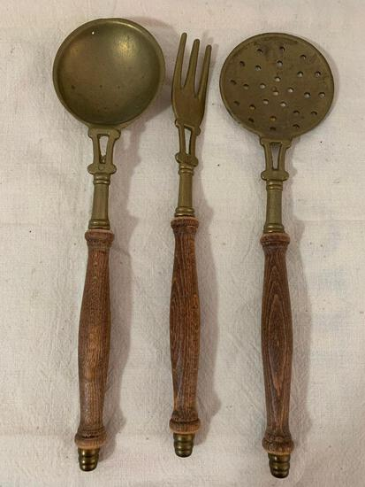 3 Piece Set of Wood and Brass Cooking Utensils Made it Italy - As Pictured