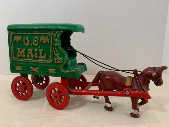"""Reproduction Cast Iron Horse Drawn Mail Truck. This Item is Approx. 11"""" Long x 6"""" Tall"""