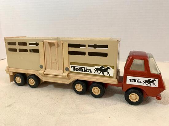 """Tonka Toy Metal Horse Truck and Trailer. This Item is Approx. 9"""" Long - As Pictured"""